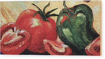 Tomatoes And Green Pepper Wood Print by Paris Wyatt Llanso
