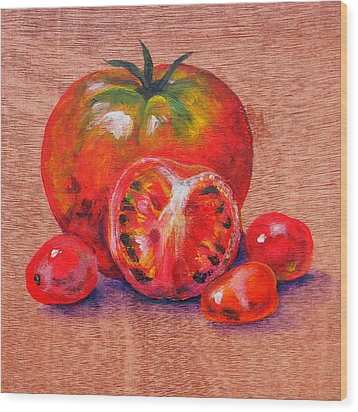 Tomatoes Wood Print by Judy Bruning