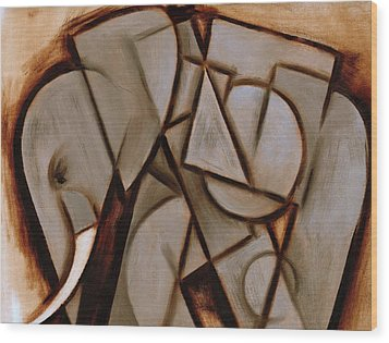 Tommervik Abstract Cubism Elephant Art Print Wood Print by Tommervik