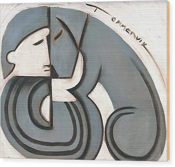 Art Deco Man And Dog Art Print Wood Print by Tommervik