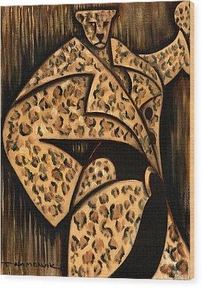 Cheetah Fur Coat Art Print Wood Print by Tommervik