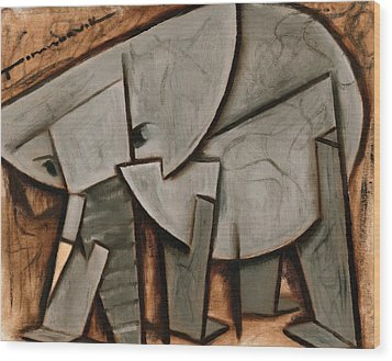 Abstract Cubism Elephant Art Print Wood Print by Tommervik