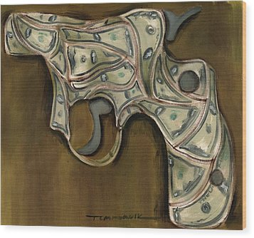 Tommervik Cash Gun Art Print Wood Print by Tommervik