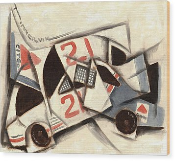 Cubism Racing Car Art Print Wood Print by Tommervik