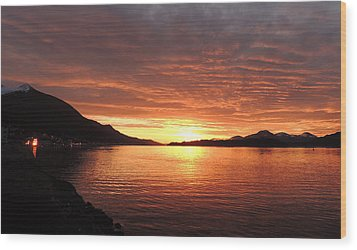Wood Print featuring the photograph Tongass Narrows Sunrise On 12/12/12 by Karen Horn
