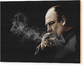 Tony Soprano Wood Print by Laurence Adamson