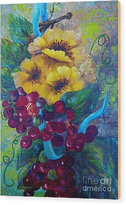 Too Delicate For Words - Yellow Flowers And Red Grapes Wood Print by Eloise Schneider