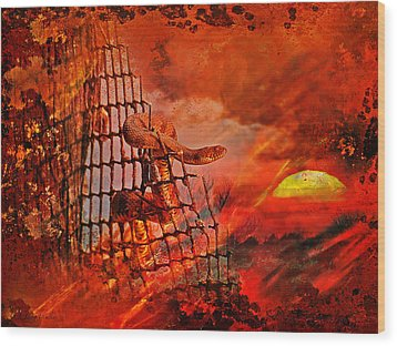 Too Hot To Handle-water Moccasin Wood Print by J Larry Walker