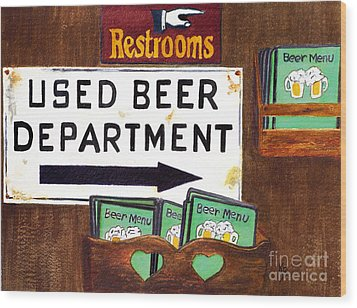 Wood Print featuring the painting Too Many Suds by Karen Fleschler