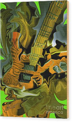 Too Much Vibrations Digital Guitar Art By Steven Langston Wood Print by Steven Lebron Langston