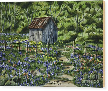 Tool Shed Wood Print by Robert Thornton