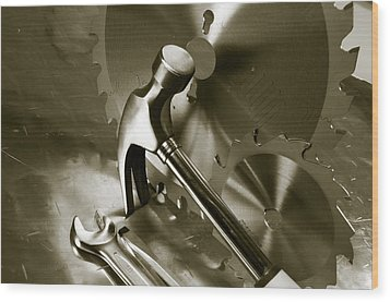 Tools And Stainless-steel Idea Wood Print by Christian Lagereek