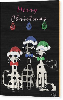Wood Print featuring the digital art Toon Cats Christmas by Arline Wagner