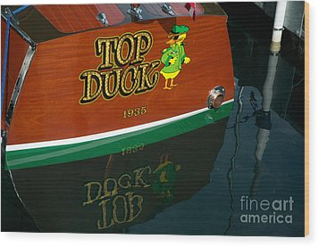 Wood Print featuring the photograph Top Duck At Tahoe's Wooden Boat Festival  by Vinnie Oakes