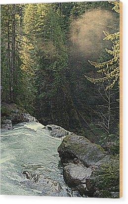 Top Of The Falls Wood Print by Lynn Bawden