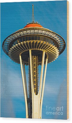Top Of The Space Needle Wood Print by Inge Johnsson