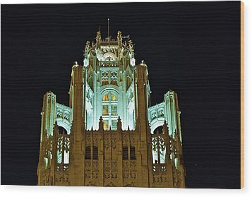 Top Of The Tribune Tower Wood Print by John Babis