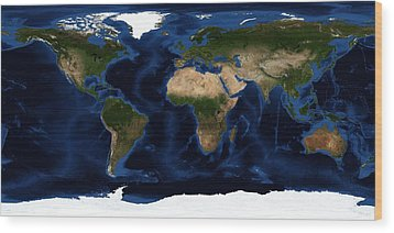 Topography Map Of The World Wood Print by Sebastian Musial