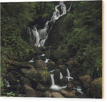 Torc Waterfall Wood Print by Peter Skelton