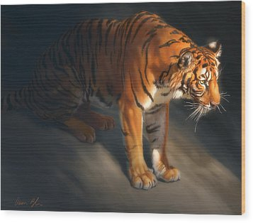 Wood Print featuring the digital art Torch Tiger 1 by Aaron Blaise