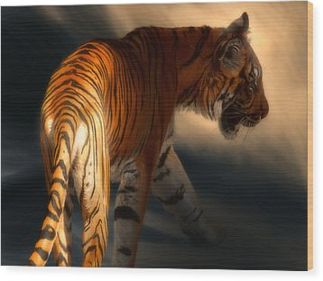 Wood Print featuring the digital art Torch Tiger 3 by Aaron Blaise