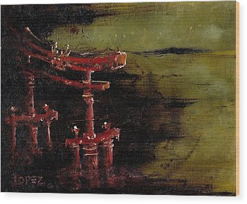 Torii Wood Print by Julio Lopez