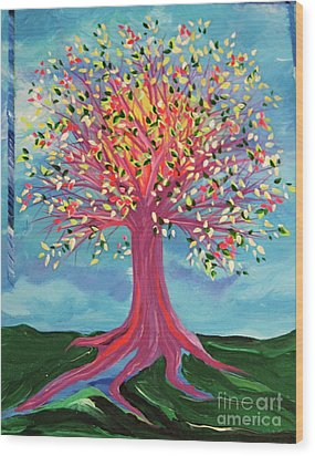 Wood Print featuring the painting Tori's Tree By Jrr by First Star Art
