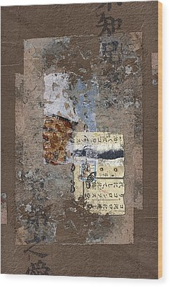 Torn Papers On Wall Wood Print by Carol Leigh