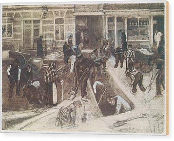 Torn-up Street With Diggers Wood Print by Vincent van Gogh