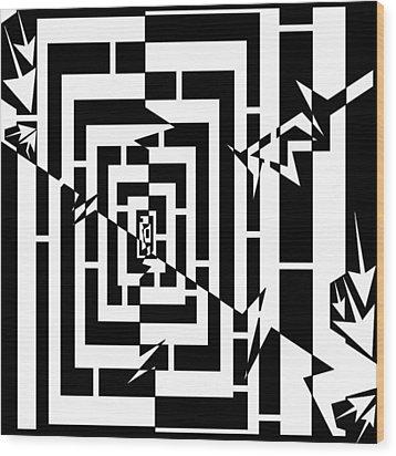 Torn Worm Hole Maze  Wood Print by Yonatan Frimer Maze Artist