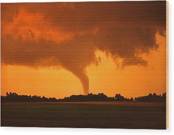 Wood Print featuring the photograph Tornado Sunset by Jason Politte
