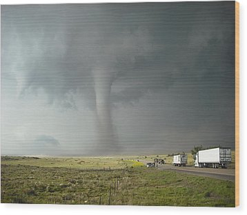 Wood Print featuring the photograph Tornado Truck Stop by Ed Sweeney