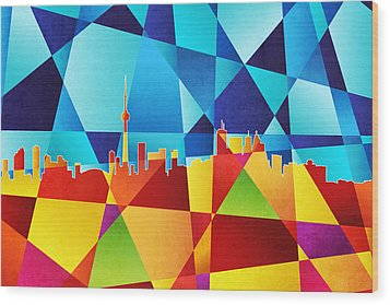 Toronto Canada Skyline Wood Print by Michael Tompsett