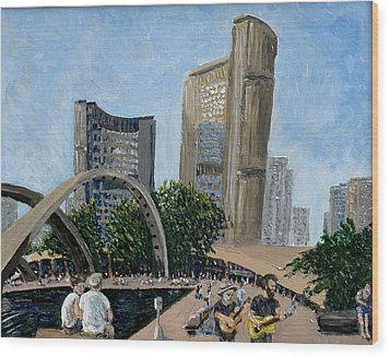 Toronto City Hall Wood Print