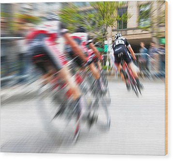 Wood Print featuring the photograph Toronto Criterium Bicycle Race Special Fx - Lucky Number 13 by Brian Carson