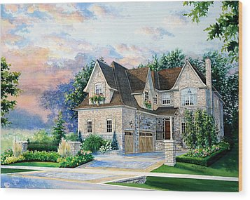 Toronto Family Home Wood Print by Hanne Lore Koehler