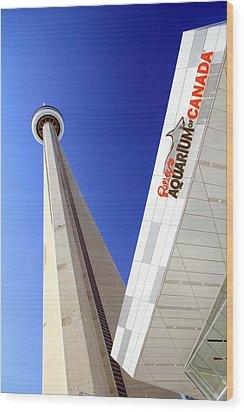 Toronto Landmarks Wood Print by Valentino Visentini