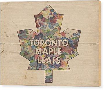 Toronto Maple Leafs Hockey Poster Wood Print by Florian Rodarte