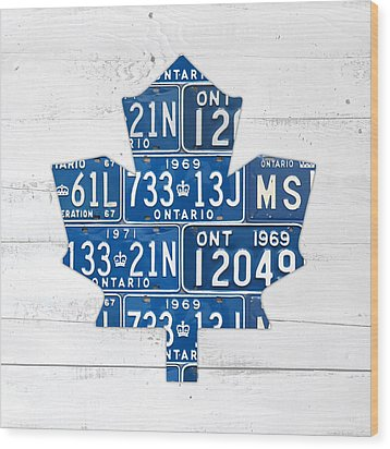Toronto Maple Leafs Hockey Team Retro Logo Vintage Recycled Ontario Canada License Plate Art Wood Print