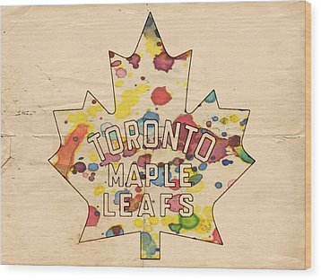 Toronto Maple Leafs Vintage Poster Wood Print by Florian Rodarte