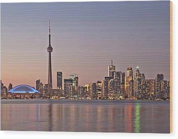 Toronto Night Skyline Tower Downtown Skyscrapers Sunset Canad Wood Print by Marek Poplawski