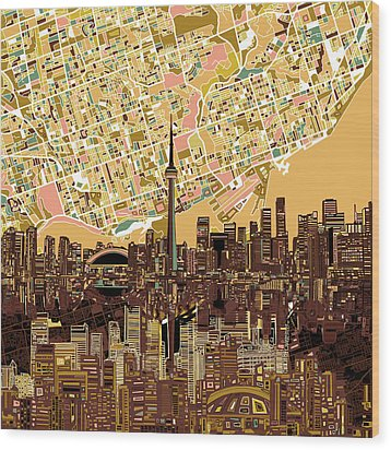 Toronto Skyline Abstract 9 Wood Print