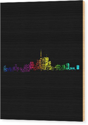 Wood Print featuring the digital art Toronto Skyline Gradient by Brian Carson
