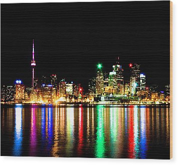 Wood Print featuring the photograph Toronto Skyline Night by Brian Carson