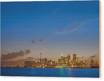 Toronto Skyline Wood Print by Sebastian Musial