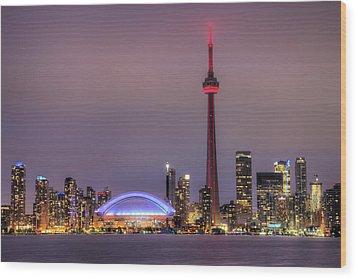 Toronto Skyline Wood Print by Shawn Everhart