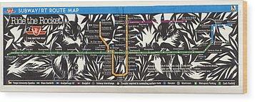 Toronto Subway Map Squirrels Wood Print by Alfred Ng