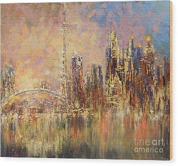 Wood Print featuring the painting Toronto Yyz by Tatiana Iliina