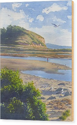 Torrey Pines Inlet Wood Print by Mary Helmreich