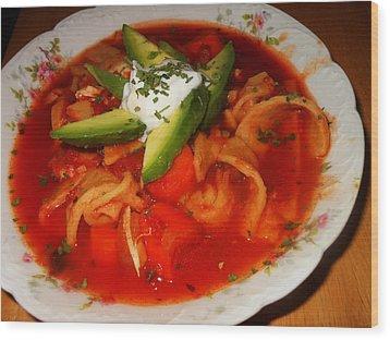 Tortilla Soup Wood Print by Karen Horn